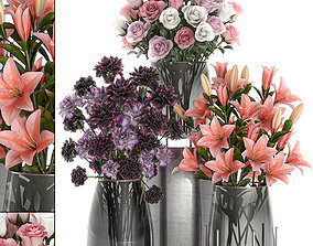 3D model Bouquet of flowers in a vase for decoration 106