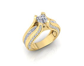 fashion Solitaire Ring 17 3D printable model