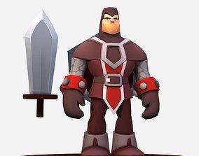 3D model Handpaint Cartoon Knight MMO Character