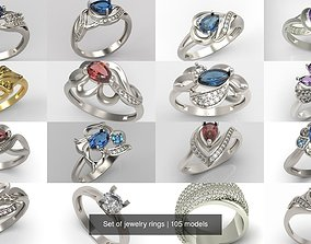 Set of jewelry rings 3D