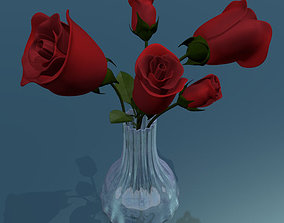 3D model animated Rose multicolor rigged low poly