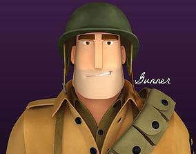 3D Stylised WW2 Character - Gunner
