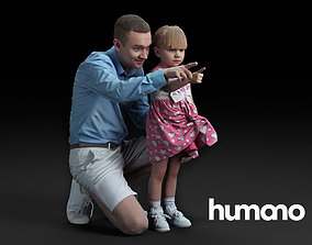 3D model Humano Crouched man with a pointing girl 050102