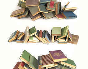 Scattered books on the floor set 4 3D model