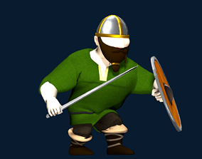 Viking Warrior Low-Poly Character Rigged and 3D asset 1