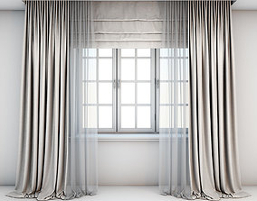 3D Light beige curtains