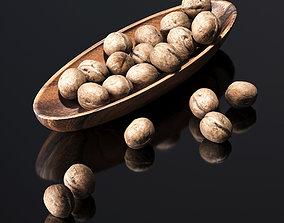 3D model Walnut in a wooden nut bowl
