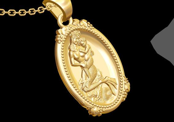 Mother Baby Mermaid medallion statue sculpture pendant