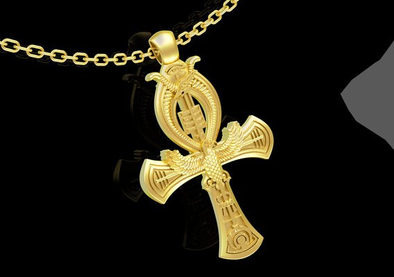 Eagle Cross medallion statue sculpture pendant jewelry gold 3D print model