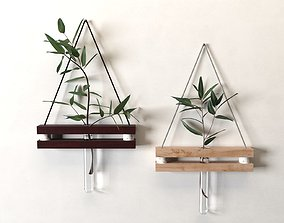 3D model Hanging Tube Vases with Plants