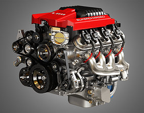 3D model LSA V8 Engine - Supercharged Muscle Car Engine