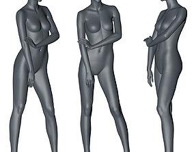fashion female mannequin stand position 3d print