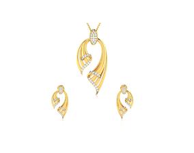 Women pendant-earrings set 3dm render detail gem