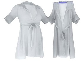 3D model Women s White Bathrobe
