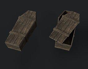 Old Wooden Coffin 3D asset