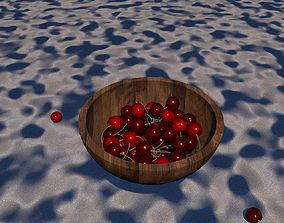 3D bowl of cherries in different shades on a sandy surface