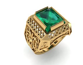 3D printable model Emerald Ring With Pattern