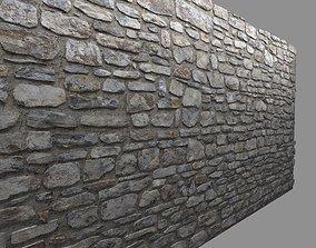3D model VR / AR ready Masonry Stone Wall 2