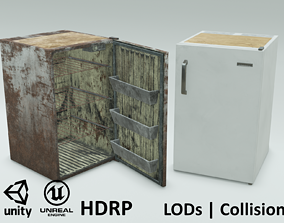 Freezy - game ready vintage fridge - clean and 3D model