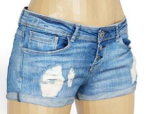 Shorts Dark Blue Jeans Ripped Women Fashion 3D asset