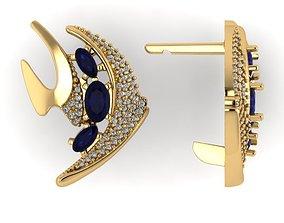 Model fish earrings with diamonds