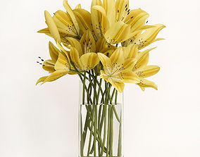 3D Yellow lilies