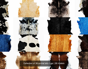 Collection of 39 animal skin rugs 3D