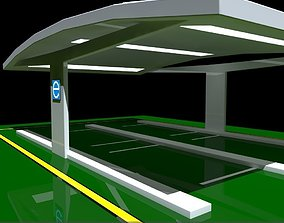 3D model Electric Vehicle Car Charging Station without 2