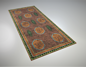 3D asset Worn Colorful Traditional Rug