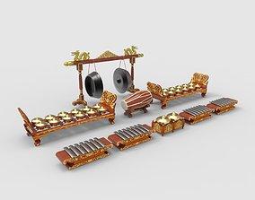 Javanese Gamelan Instruments Set 3D model