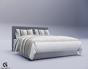 contemporary rigged Bed Queen Revit High Quality 3D models