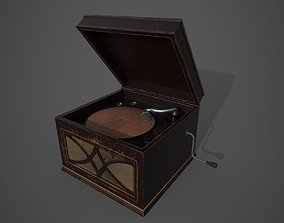 wood Old Gramophone 3D asset game-ready