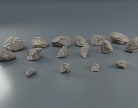 3D asset low-poly Rocks set 2