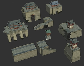 Ancient Chinese Wall Components City walls 3D asset 2