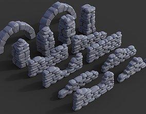3D printable model Stone walls and pillars for wargaming