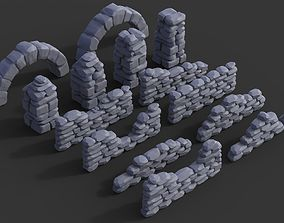 3D printable model Stone walls and pillars for wargaming
