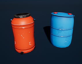 Stylized Plastic Barrels 3D asset
