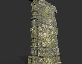 3D model Low poly Ruin Mossy Temple Wall 04 190318