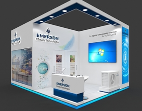 Exhibition stall 3d model 27 sqmtr 2sides open Emerson