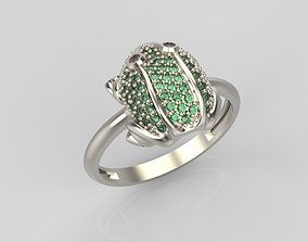 Ring Frog with gemstons 3D print model jewel-ring