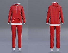 3D model red tracksuit - sweatshirt hoodie and sweatpants