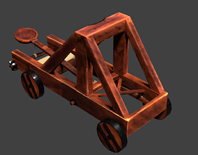 Low-Poly Catapult for Game 3D asset