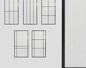 5 Glass partition door Set 9 partition models 3D