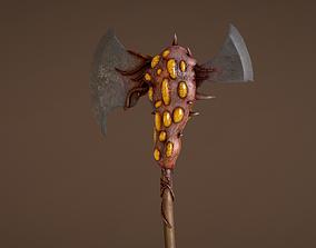 Battle Axe with Organic Alien Growth 3D model