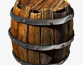3D Old Wooden Barrel