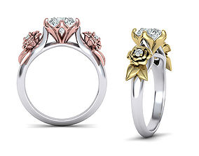 Floral Engagement ring Nature style 3dmodel N10330