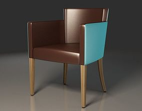 3D model Armchair Brown and Blue Leather covered