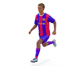 3D Soccer Player Barcelona Rigged 2