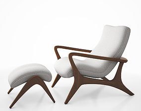 Contour low back lounge chair and foot stool by 3D 1