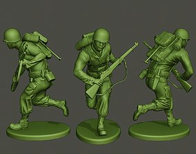 American soldier ww2 running A5 3D printable model
